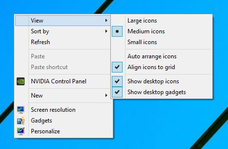 Desktop Gadgets Installer контекстное меню