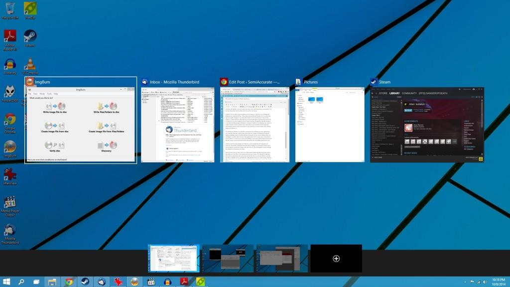 Переключения между окнами Windows 10