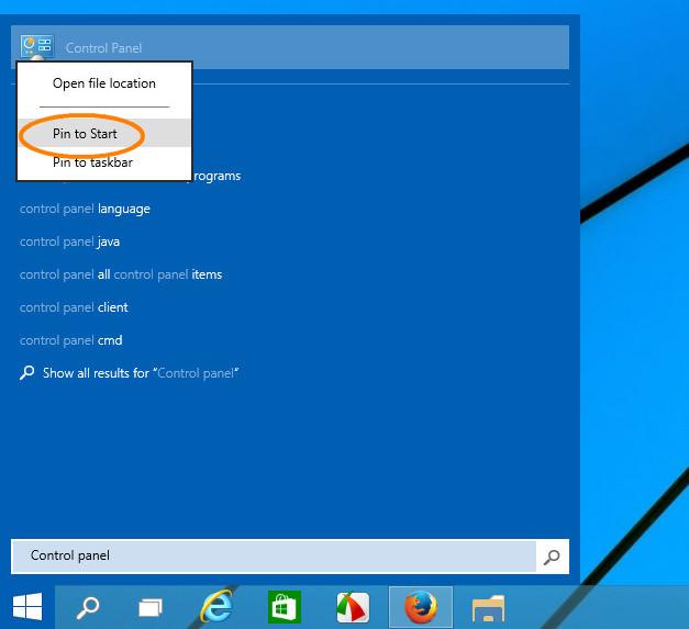 Открываем панель управления Windows 10 через поиск