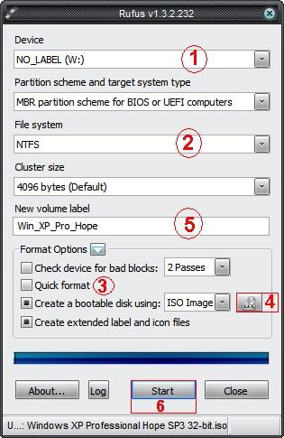 Программа Rufus для установки Windows xp