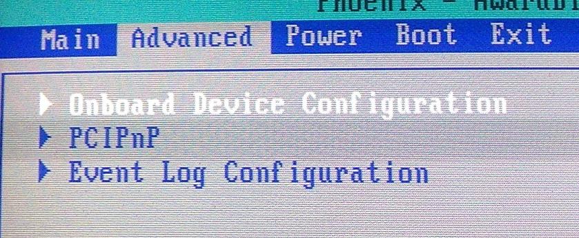 Выбор в BIOS