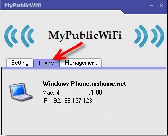 Вкладка Clients MyPublicWifi
