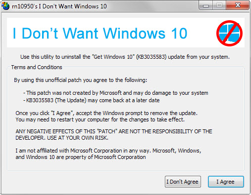I Don't Want Windows 10 v2.0